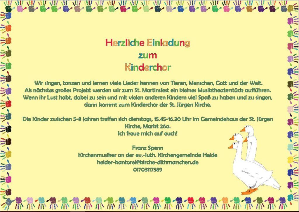 Einladung zum Kinderchor - Plakat mit Gänsen zu St. Martin