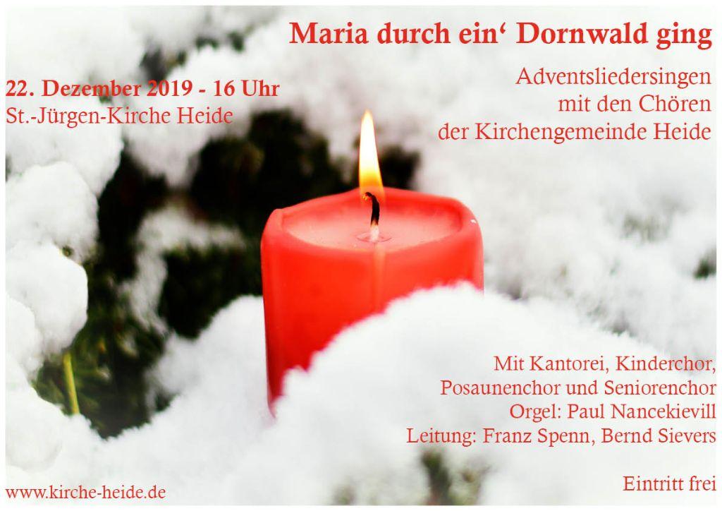 Plakat mit Einladung zum Adventsliedersingen mit Gruppen der Kirche Heide