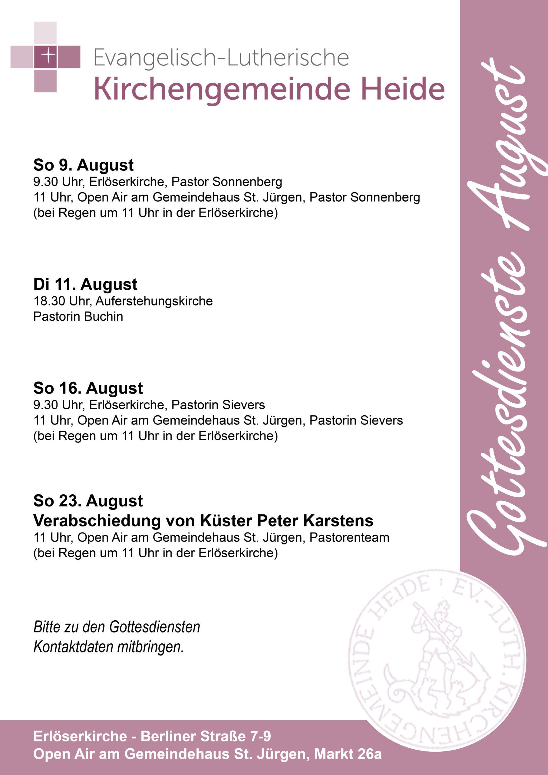 Gottesdienste August