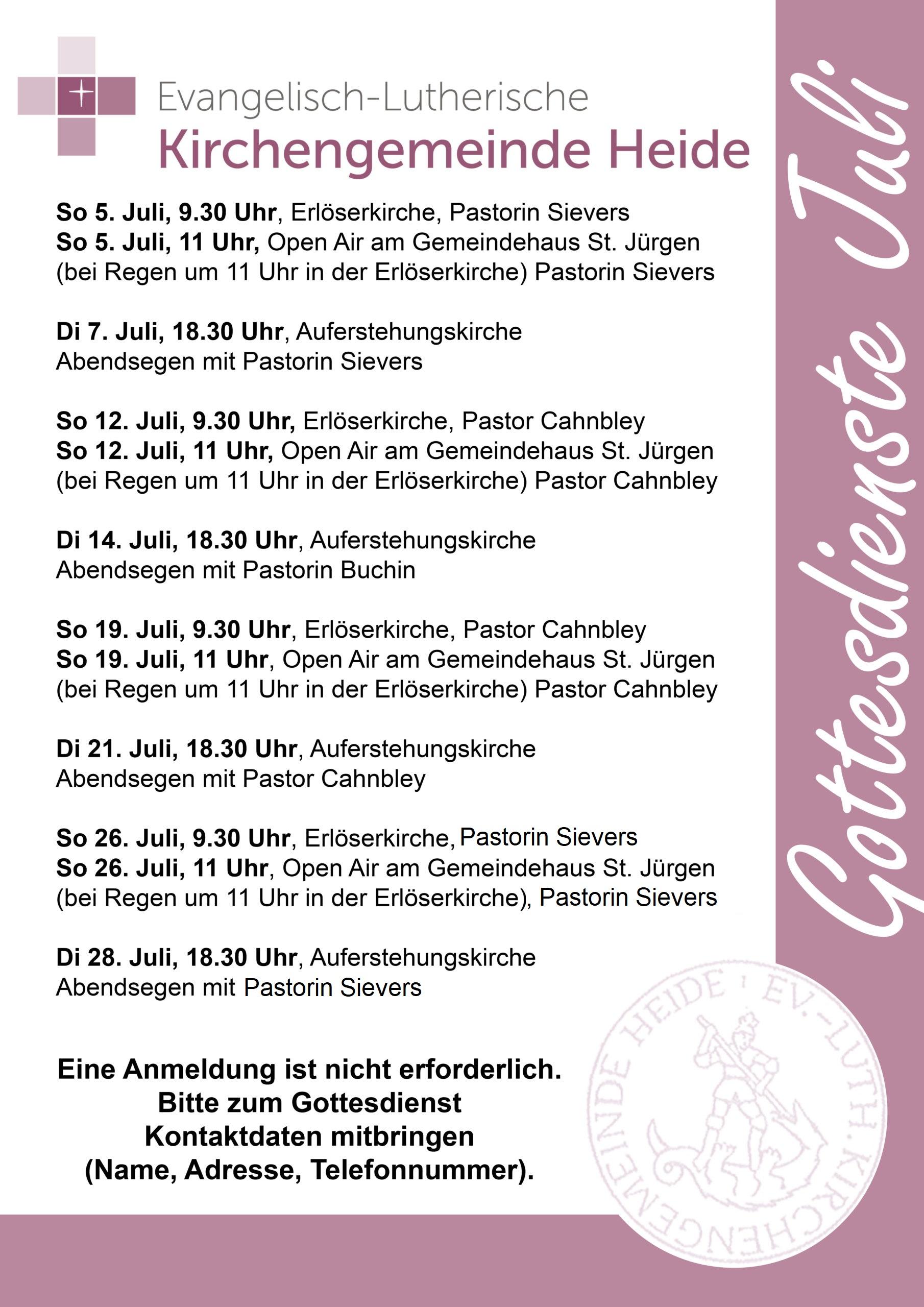 Gottesdienste im Juli