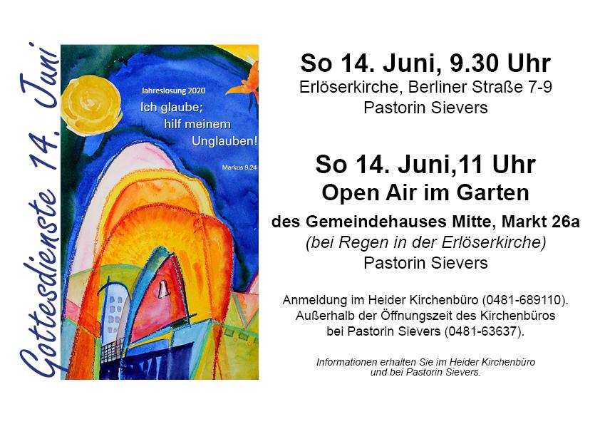 Gottesdienste am 14. Juni