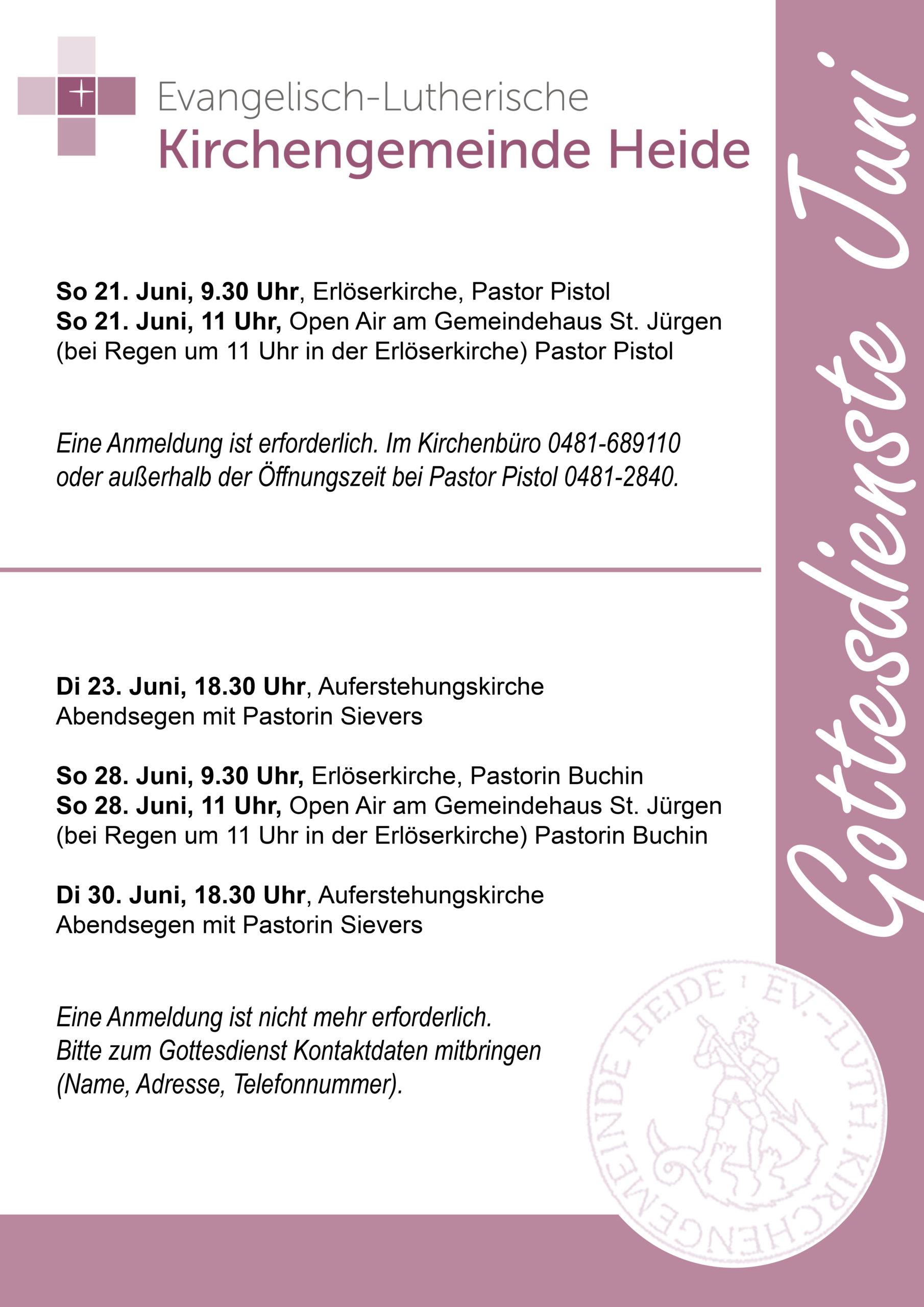 Gottesdienste im Juni