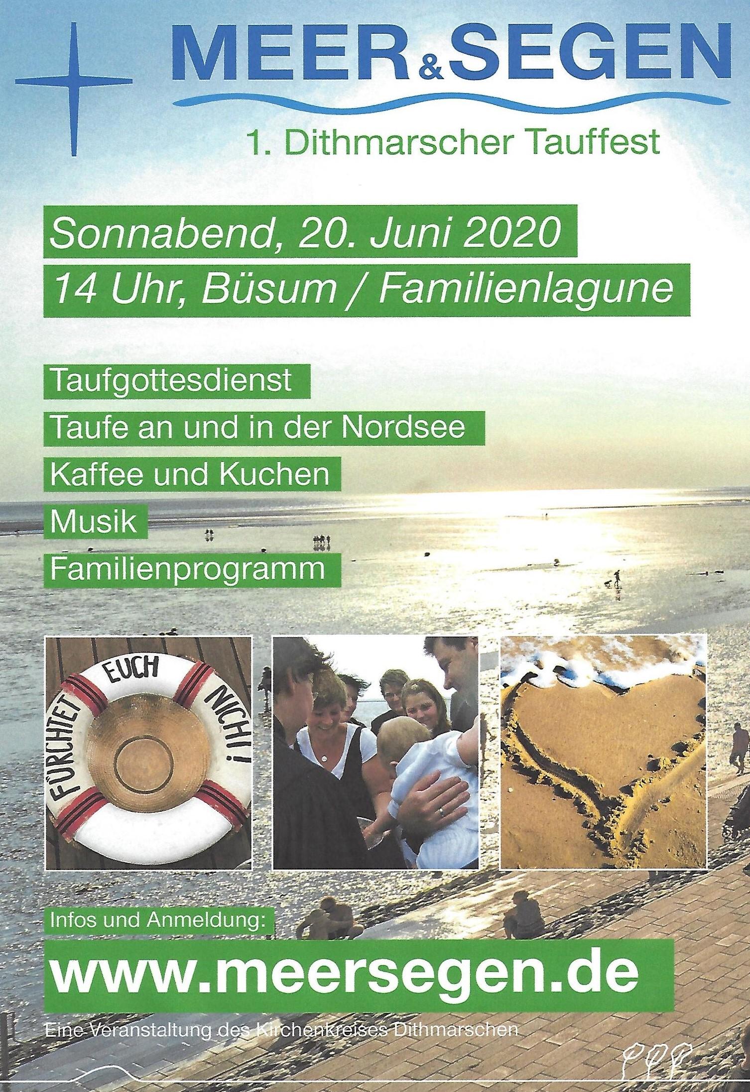 Tauffest in Büsum am 20. Juni 2020 (neuer Termin: Sa 12.06.21, 14 Uhr)