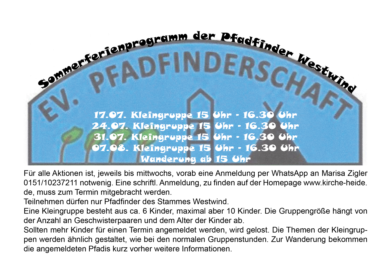 """Sommerferienprogramm der Pfadfinder """"Westwind"""""""